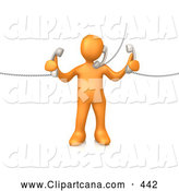 Clip Art of an Orange Man Handling Three Customer Service Lines and Multi Tasking at the Office by 3poD