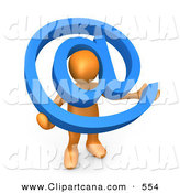 Clip Art of an Orange Man Holding a Blue at Symbol with His Head Peeking Through the Center by 3poD