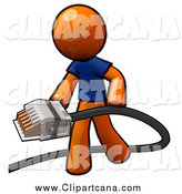 Clip Art of an Orange Man Holding a Cable by Leo Blanchette