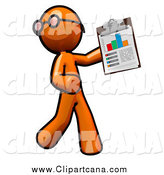 Clip Art of an Orange Man Holding a Chart by Leo Blanchette