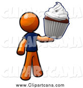 Clip Art of an Orange Man Holding a Giant Cupcake by Leo Blanchette