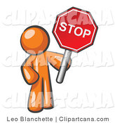 Clip Art of an Orange Man Holding a Stop Sign by Leo Blanchette