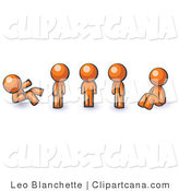 Clip Art of an Orange Man in Different Poses by Leo Blanchette