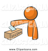 Clip Art of an Orange Man Inserting a Suggestion into a Box by Stephjs
