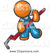 Clip Art of an Orange Man Kneeling and Using a Pipe Wrench by Leo Blanchette