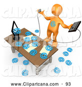 Clip Art of an Orange Man Overwhelmed at His Computer in an Office, Symbolizing Computer Viruses or Email Spamming by 3poD