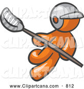 Clip Art of an Orange Man Playing Lacrosse by Leo Blanchette