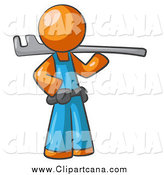 Clip Art of an Orange Man Plumber by Leo Blanchette