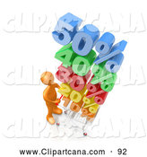Clip Art of an Orange Man Pushing a Shopping Cart with Stacked Colorful Discounts up to 50 Percent by 3poD