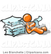 Clip Art of an Orange Man Reading Against Paperwork by Leo Blanchette