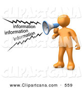 Clip Art of an Orange Man Shouting Information Through a Megaphone by 3poD