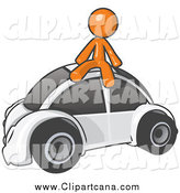 Clip Art of an Orange Man Sitting on a White Slug Bug by Leo Blanchette