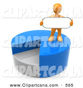 Clip Art of an Orange Man Standing on Top of a Blue and Gray Pie Chart and Holding a Blank Oval Sign by 3poD