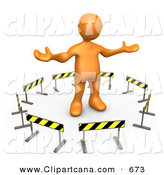 Clip Art of an Orange Man Stuck in the Middle of a Circle of Caution Signs by 3poD