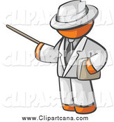 Clip Art of an Orange Man Teacher Using a Pointer Stick by Leo Blanchette