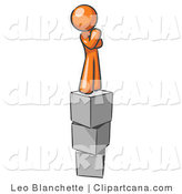 Clip Art of an Orange Man Thinking on Blocks by Leo Blanchette