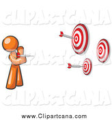 Clip Art of an Orange Man Throwing Darts by Leo Blanchette
