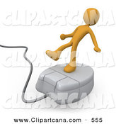 Clip Art of an Orange Man Trying to Maintain His Balance While Riding on a White Computer Mouse and Surfing the Internet by 3poD