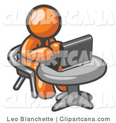 Clip Art of an Orange Man Using a Laptop by Leo Blanchette