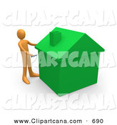 Clip Art of an Orange Man Using a Screwdriver to Finish off a Green Energy Efficient Home After Doing Eco Friendly Upgrades, Repairs, or New Construction by 3poD