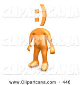 Clip Art of an Orange Man with a Sideways Computer Made Smiley Face by 3poD