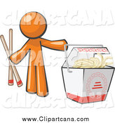 Clip Art of an Orange Man with Chopsticks and Chinese Takeout by Leo Blanchette