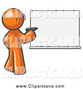 Clip Art of an Orange Man Writing on an Office White Board by Leo Blanchette