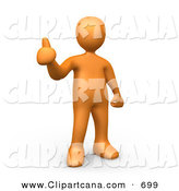 Clip Art of an Orange Person Giving the Thumbs up on White by 3poD