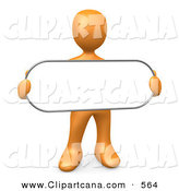 Clip Art of an Orange Person Holding a Blank White Oval Sign on White by 3poD