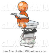 Clip Art of an Orange Person Reading by Leo Blanchette