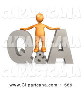 Clip Art of an Orange Person Standing in the Center of a Questions and Answers Icon on White by 3poD