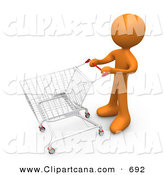 Clip Art of an Orange Person Standing with a Shopping Cart Through a Store by 3poD