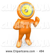 Clip Art of an Orange Person with a Loud Speaker Head, Hollering or Playing Music, on White by 3poD