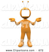 Clip Art of an Orange Person with a Television Monitor As a Head, Shrugging by 3poD
