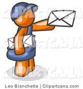 Clip Art of an Orange Postal Mail Man by Leo Blanchette