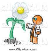 Clip Art of an Orange Scientist Admiring a Giant White Daisy Flower by Leo Blanchette