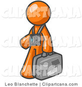 Clip Art of an Orange Tourist Carrying His Suitcase by Leo Blanchette