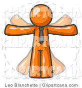 Clip Art of an Orange Vitruvian Man by Leo Blanchette