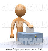 Clip Art of an Orange Voter Man Putting Their Voting Envelope in a Ballot Box During a Presidential Election by 3poD