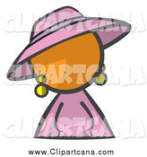 Clip Art of an Orange Woman in Pink by Leo Blanchette