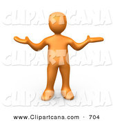 Clip Art of an Uncertain Orange Person Shrugging on White by 3poD