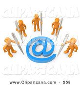 Clip Art of Five Orange Men Holding Large Pens, Surrounding a Blue at Symbol by 3poD