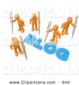 "Clip Art of Five Orange People Surrounding the Blue Word ""Blog"" and Holding Large Pens by 3poD"