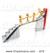 Clip Art of Four Orange Person Standing on a Silver and Red Bar Graph Chart, Reaching Back to Assist Others up to the Top by 3poD