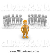 Clip Art of Groups of 3d Men Watching an Orange Man by Jiri Moucka