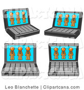 Clip Art of Laptop Computers with Orange Men on the Screens by Leo Blanchette