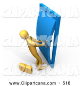 Clip Art of NA Orange Person by a Briefcase, Struggling to Open a Stuck or Locked Door by 3poD