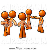 Clip Art of Orange Couples Dancing by Leo Blanchette