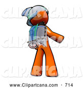 Clip Art of Orange Man Rocketeer Wearing a Jetpack by Leo Blanchette