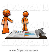 Clip Art of Orange Men Discussing Financial Statistic Charts on a Giant Clipboard by Leo Blanchette